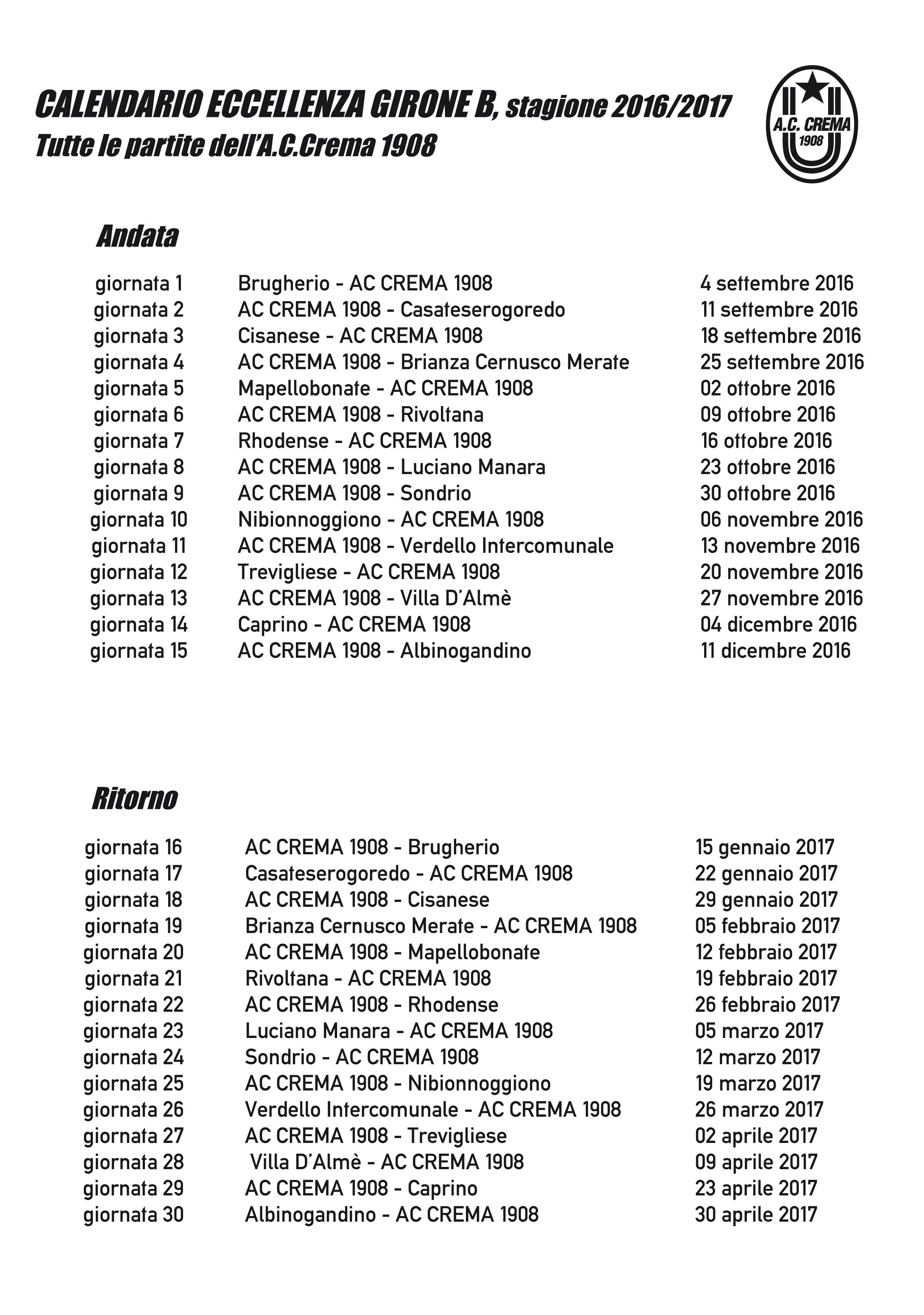 Calendario Eccellenza Girone B.A C Crema 1908 Calendario Eccellenza Girone B Stagione
