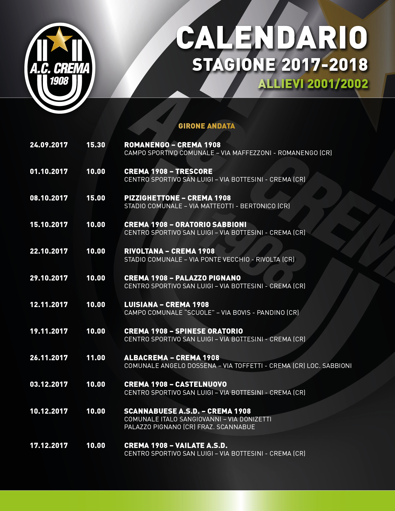 Calendario allievi