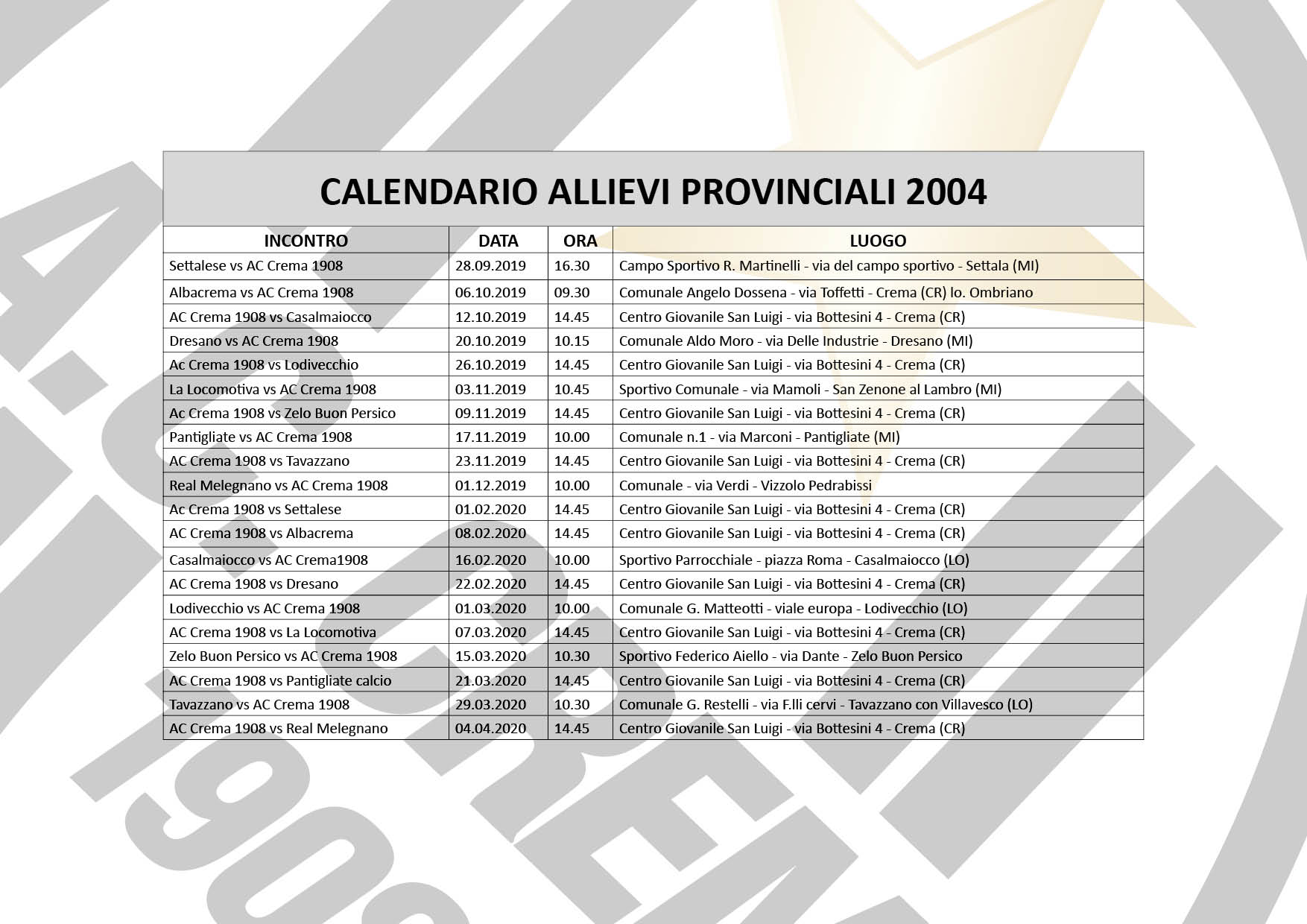 calendario allievi 2004