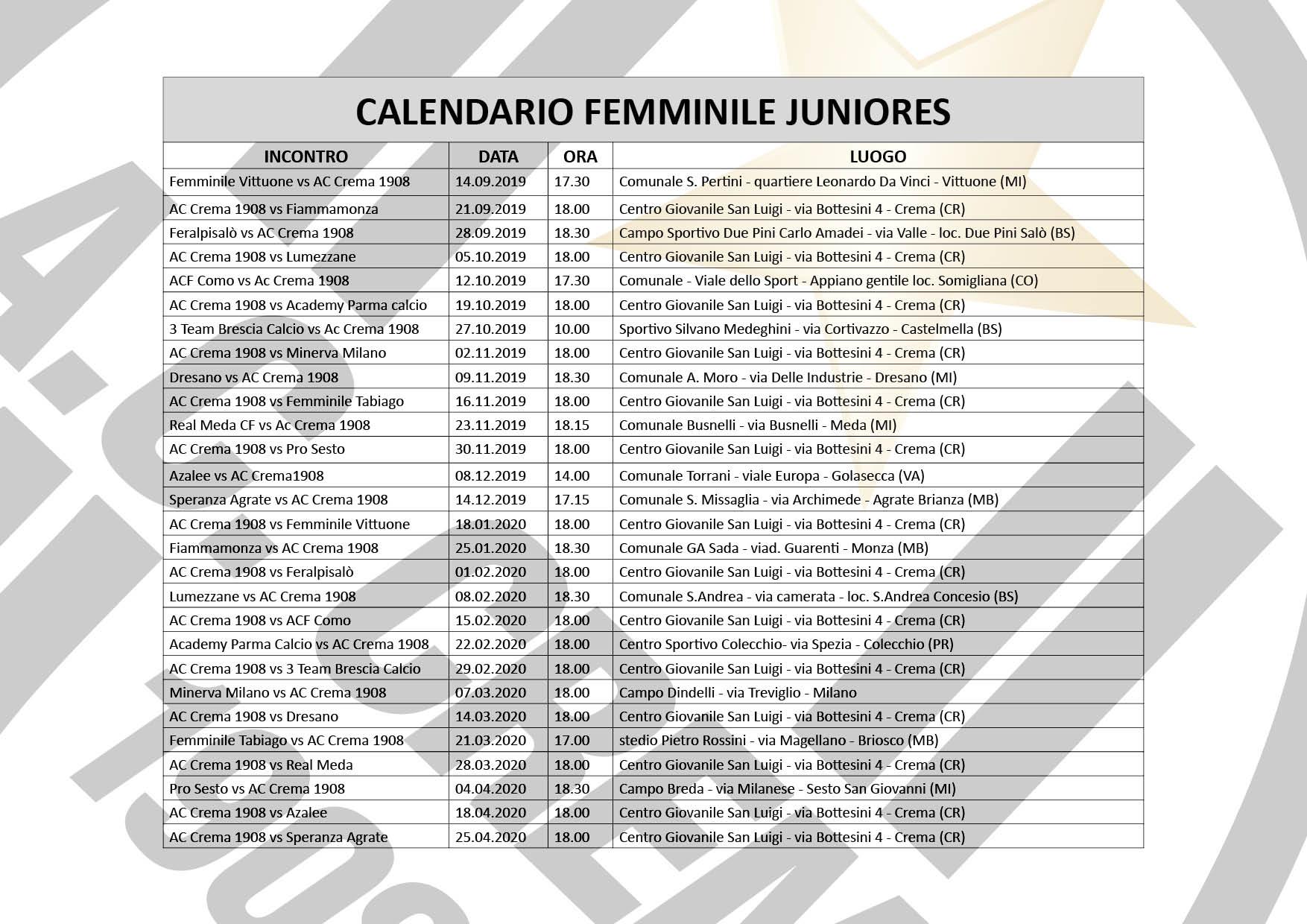 calendario femminile juniores