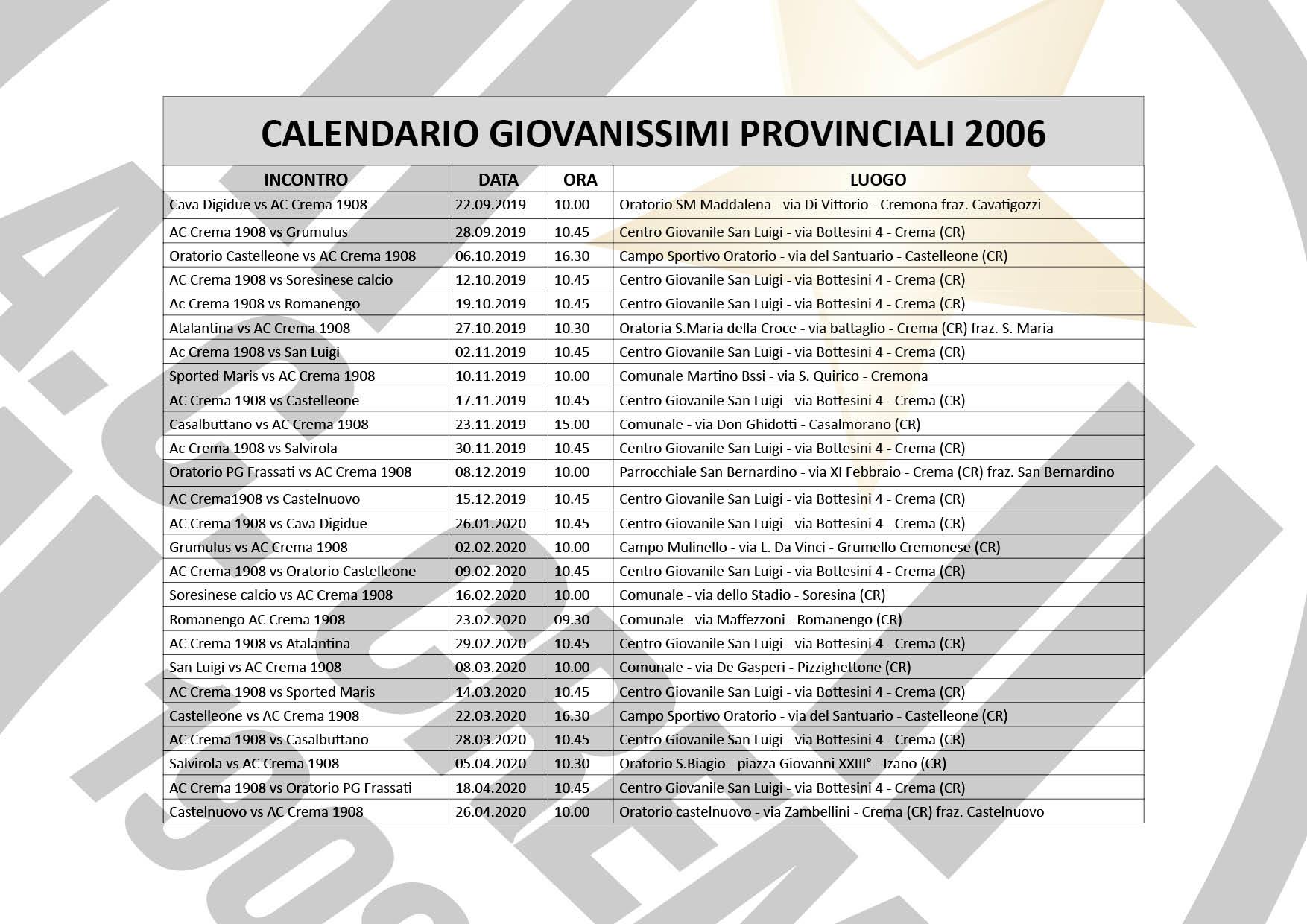 calendario giovanissimi 2006
