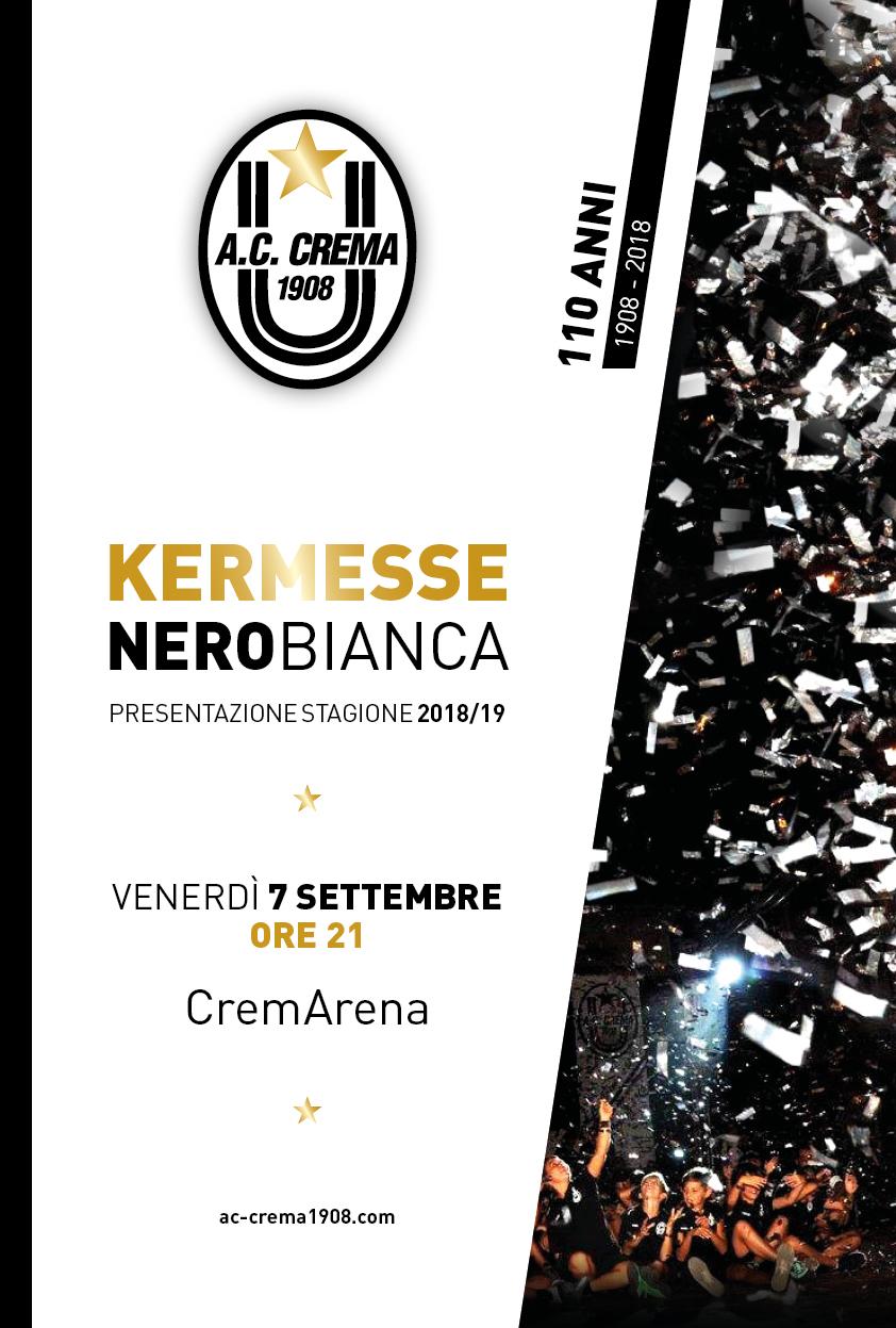 KERMESSE NEROBIANCA – 12 SETTEMBRE ORE 19 – CREMARENA