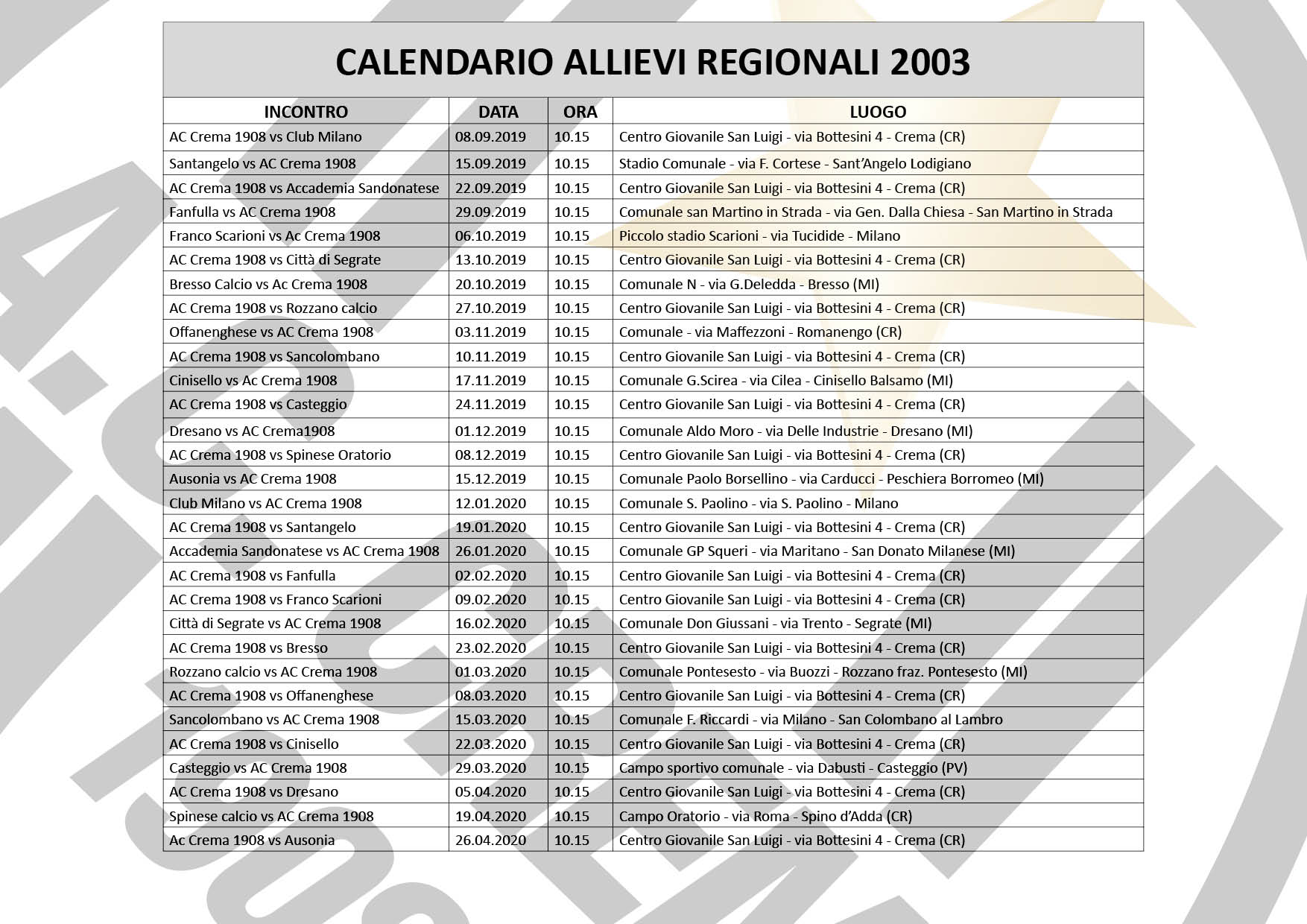 calendario allievi 2003