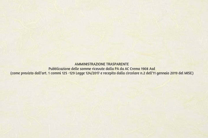 Pubblicazione delle somme ricevute dalla PA da AC Crema 1908 Asd